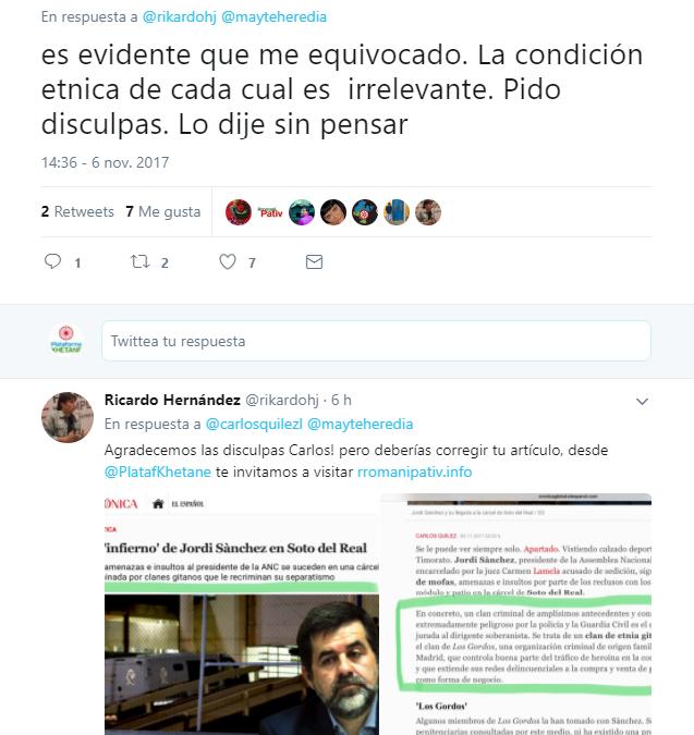Rectificación de Carlos Quílez